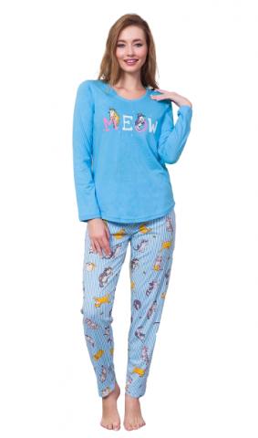 Dámské pyžamo Vienetta Secret Kočka Meow modré