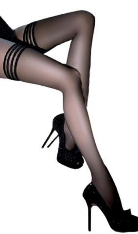 Dámské samodržící punčochy Gabriella Calze Lux  černé