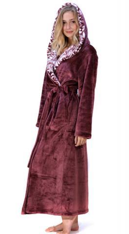 Dámský dlouhý župan s kapucí Vestis Flora vřes 3956