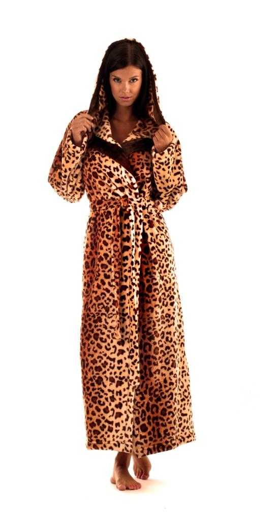 Dámský dlouhý župan Vestis 3956 Jungle s kapucí