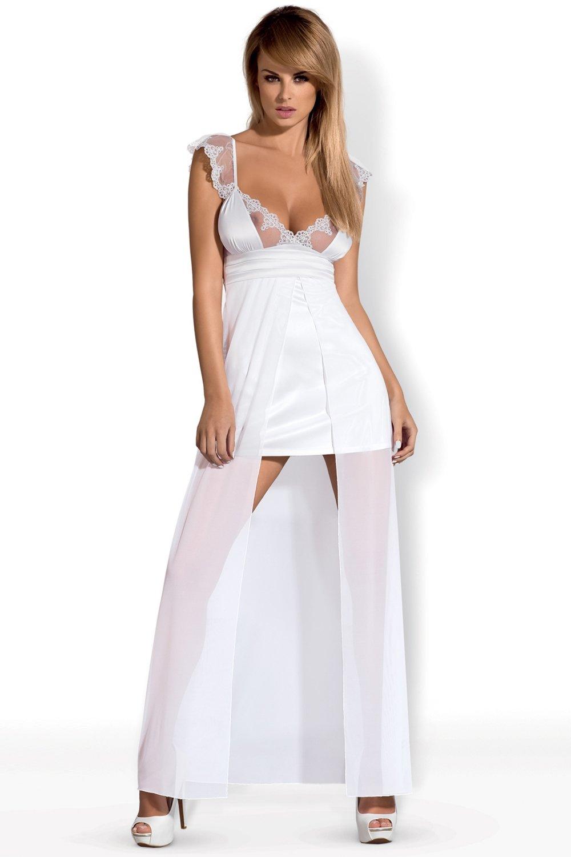 Dámský erotický župan Obsessive Feelia gown bílý