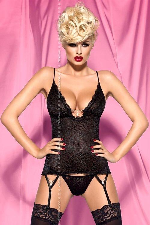 Dámský korzet Obsessive Diamond corset černý