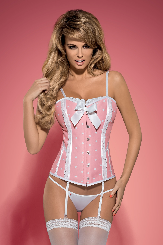 Dámský korzet Obsessive Dottie corset pink XXL