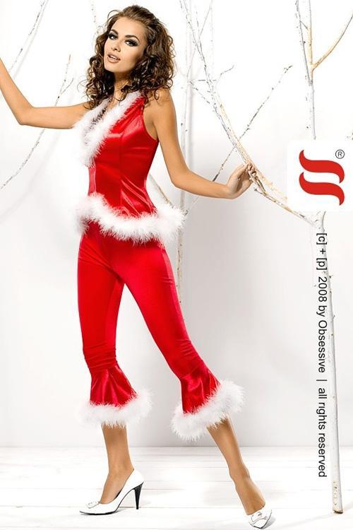 Dámský Vánoční kostým Obsessive Santa Lady Pants & Vest