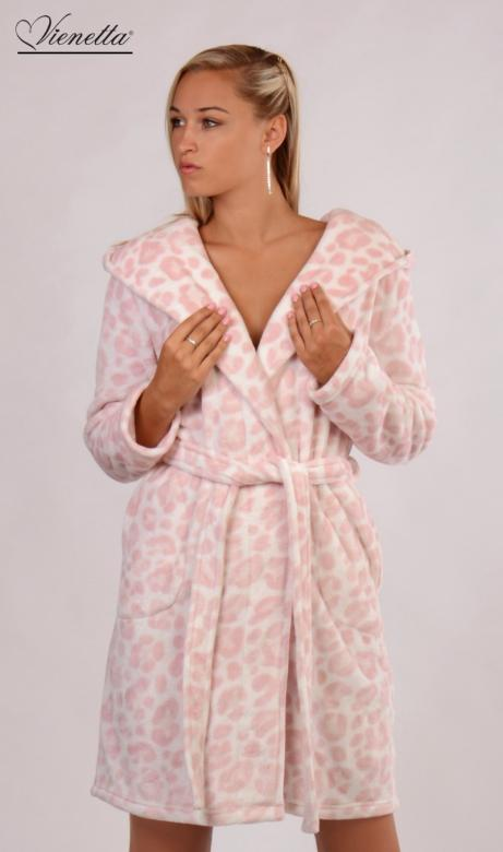 Dámský župan krátký s kapucí Vienetta Secret Leopard Pink