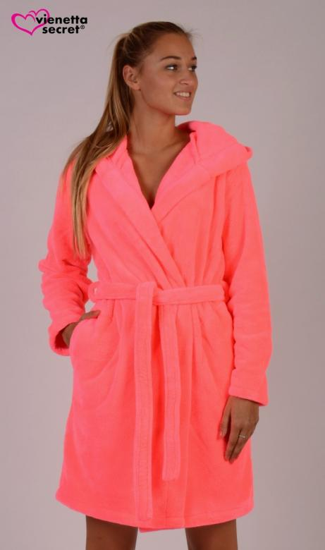 Dámský župan krátký s kapucí Vienetta Secret Neon Pink