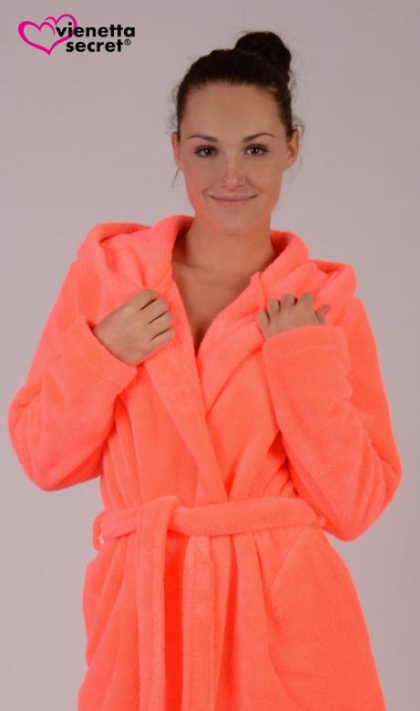 Dámský župan krátký s kapucí Vienetta Secret Neon Pomeranč