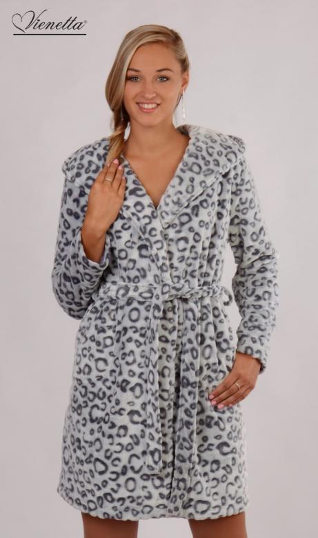 Dámský župan krátký s kapucí Vienetta Secret Leopard Grey