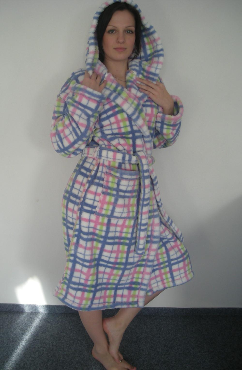 Dámský župan Lady Selena 208057 - károvaný s kapucí