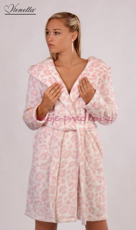 Dámský župan s kapucí Vienetta Secret Leopard pink výprodej