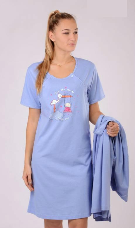 Dámský župan s mateřskou košilí Vienetta Secret Čáp a houpačka