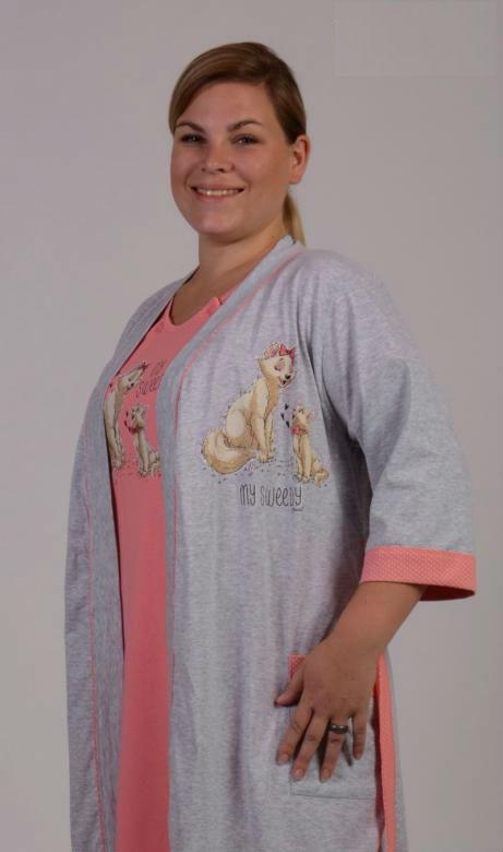 Dámský župan s mateřskou košilí Vienetta Secret Kočky