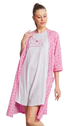 Dámský župan s noční košilí Vienetta Secret Srdíčka růžové