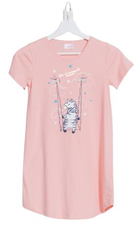 Dátská lososová noční košilka Vienetta Secret Zebra