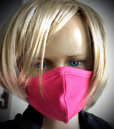 Dětská či dámská obličejová rouška - ochranná růžová