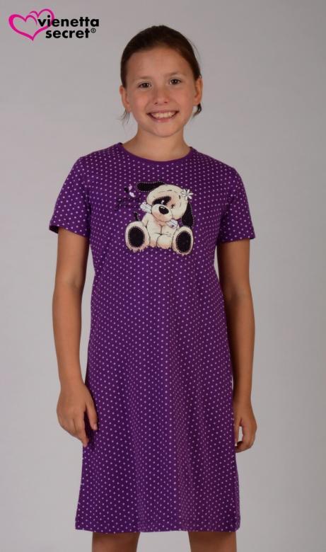 Dětská noční košile s krátkým rukávem Vienetta Secret Pes s novinami