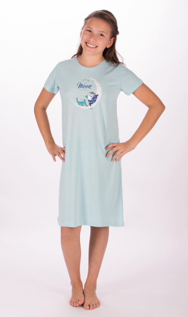 Dětská noční košile s krátkým rukávem Vienetta Secret Méďa na měsíci