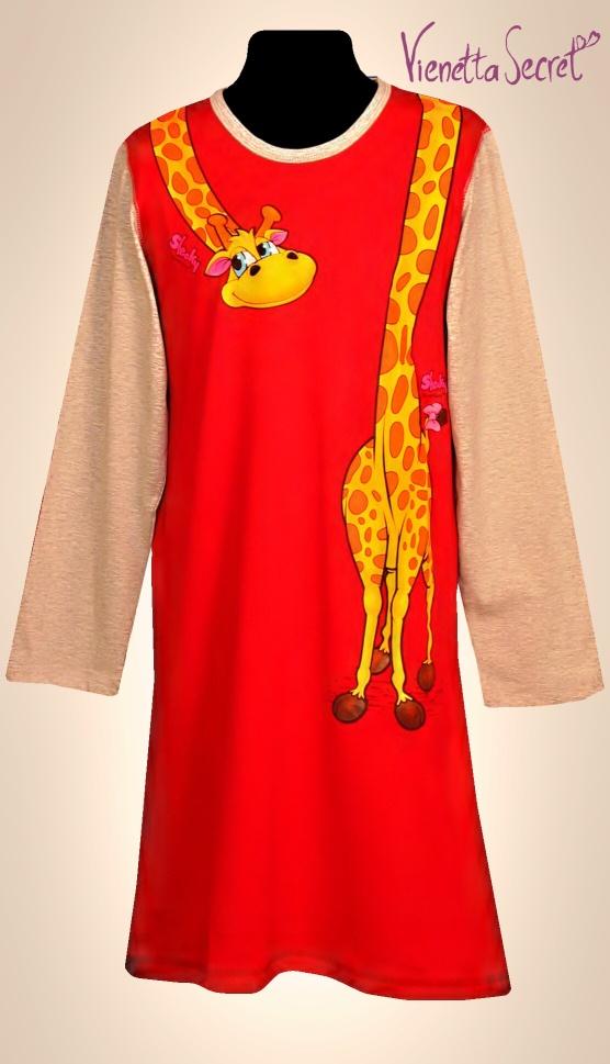 Dětská noční košile Vienetta Secret (dl.rukáv) - Žirafí krk