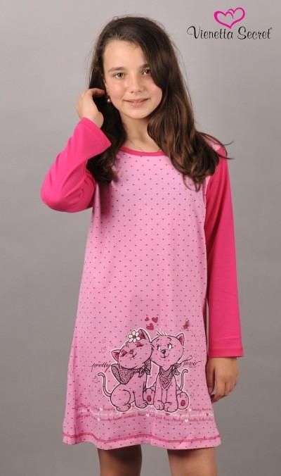 Dětská noční košile Vienetta Secret Kočičky