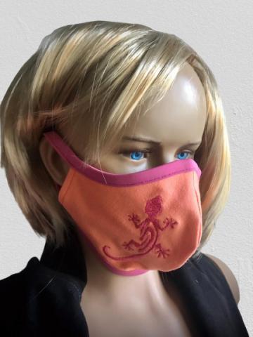 Dětská obličejová ochranná rouška s výšivkou dvojitá