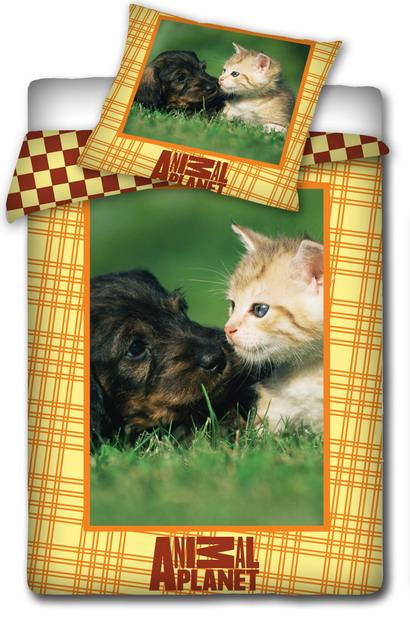 Dětské bavlněné povlečení - ANIMAL PLANET - Pes a kočka