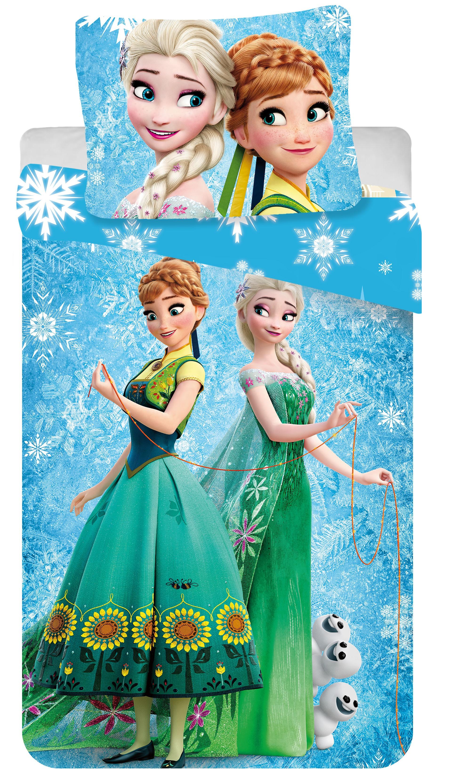 Dětské bavlněné povlečení Disney Frozen blue snowflake