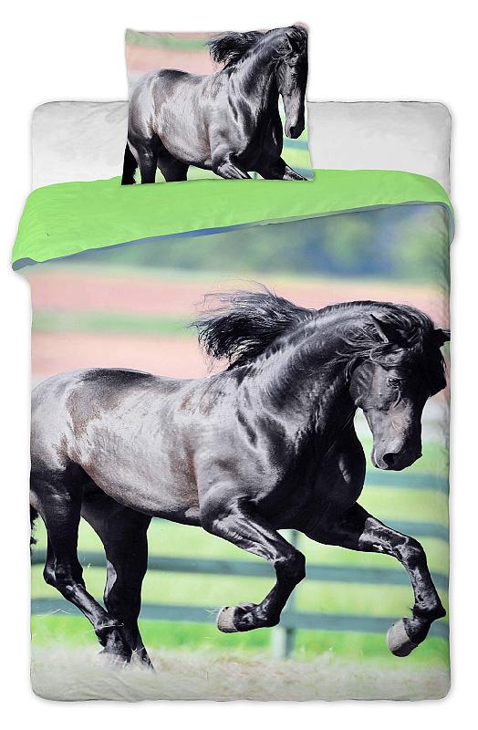 Dětské bavlněné povlečení fototisk Černý kůň