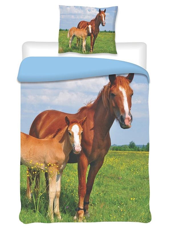 Dětské bavlněné povlečení fototisk Koně 2014