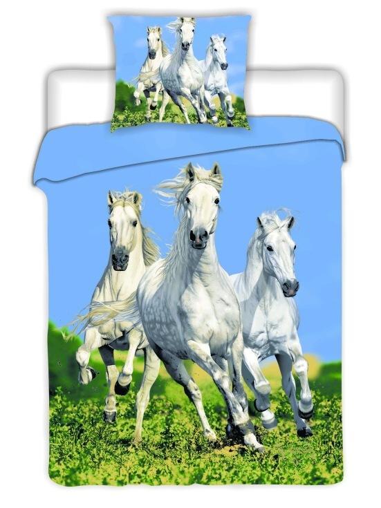 Dětské bavlněné povlečení fototisk Koně bílé