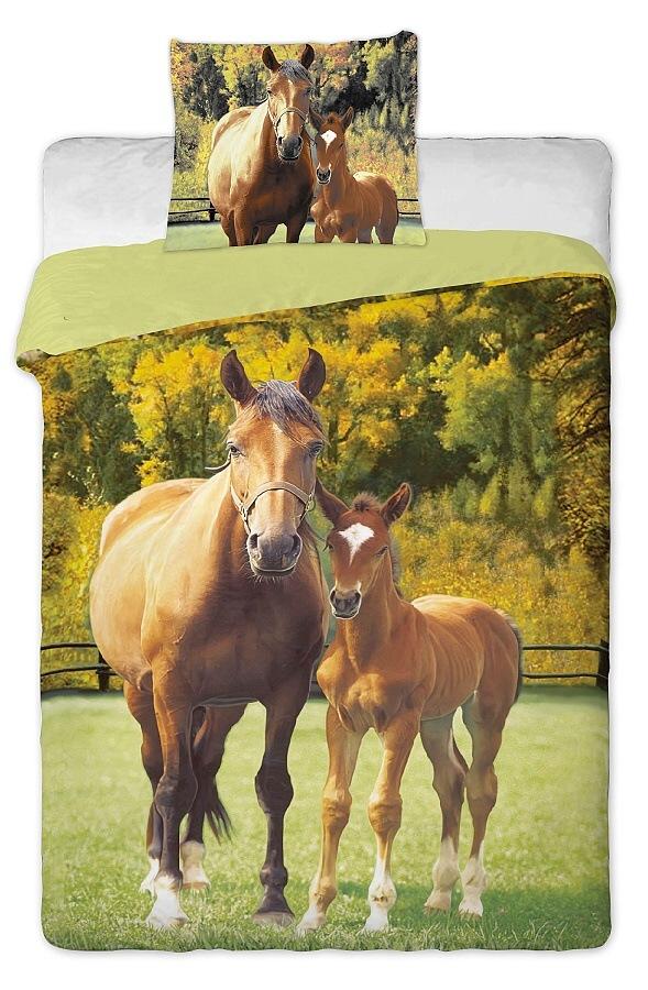 Dětské bavlněné povlečení fototisk Koně zelené