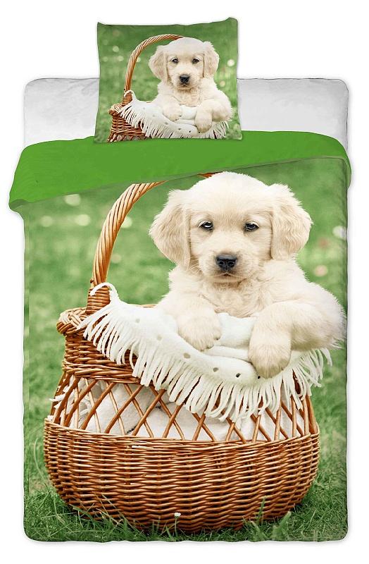 Dětské bavlněné povlečení fototisk - Pes v košíku