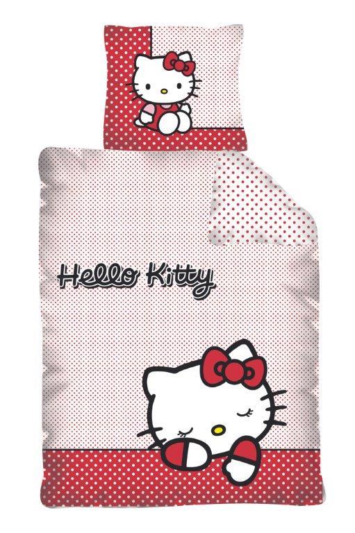Dětské bavlněné povlečení - Hello Kitty puntík červený