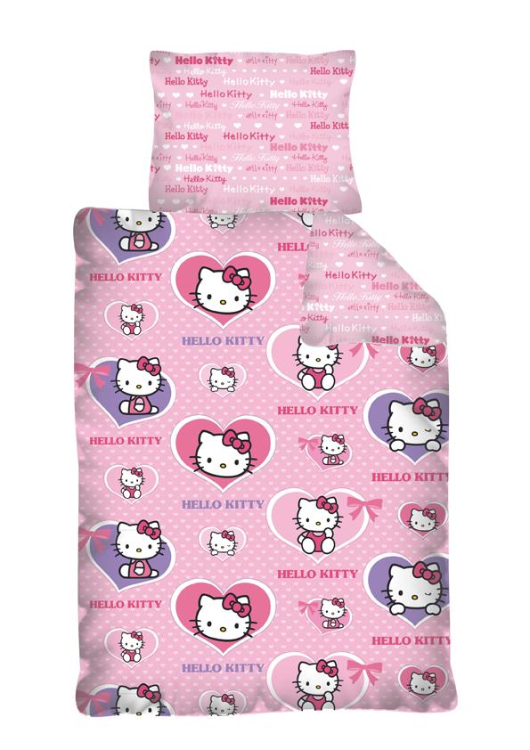 Dětské bavlněné povlečení - Hello Kitty srdíčka