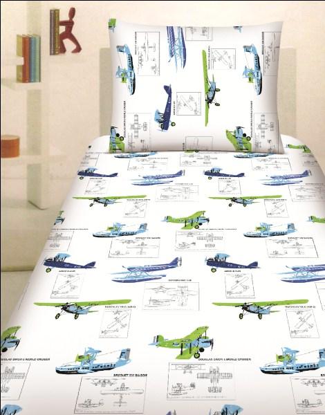 Dětské bavlněné povlečení - Letadla bílá