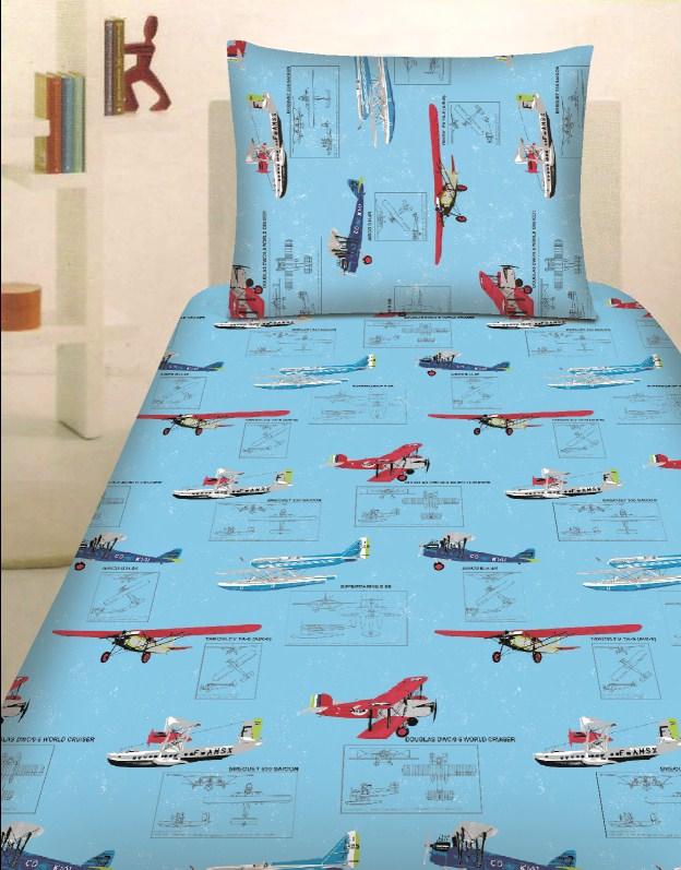 Dětské bavlněné povlečení - Letadla modrá