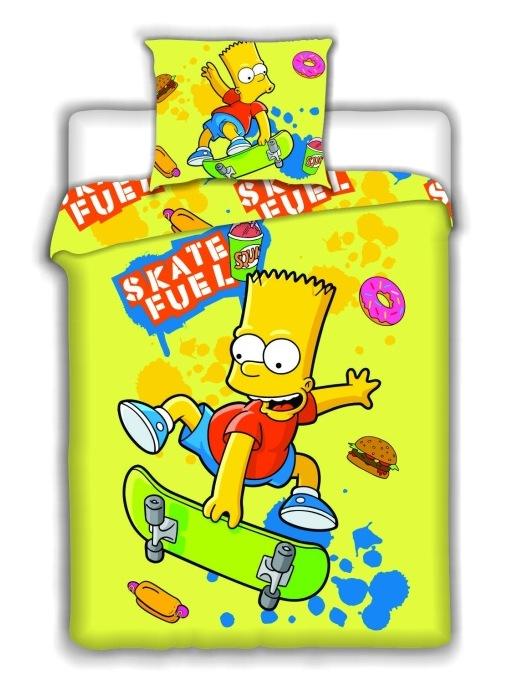 Dětské bavlněné povlečení Simpsons Bart Skate yellow