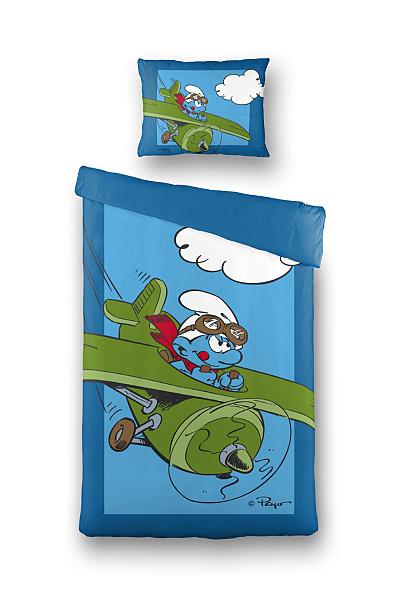 Dětské bavlněné povlečení - Šmoula a letadlo