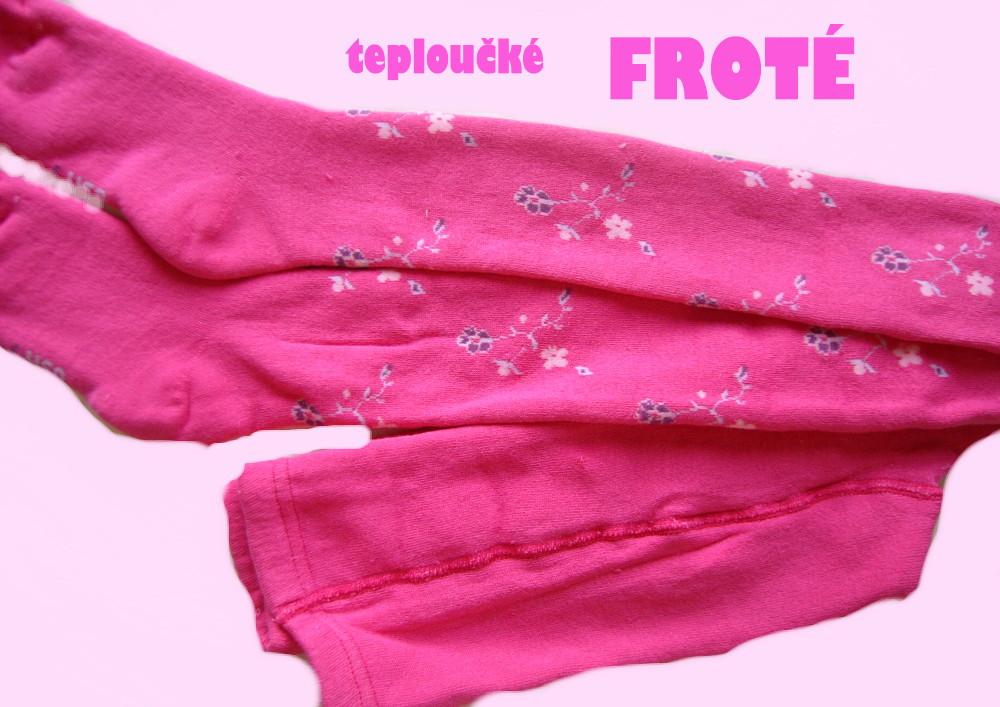 Dětské froté punčocháčky Design Socks - růžové kytičky