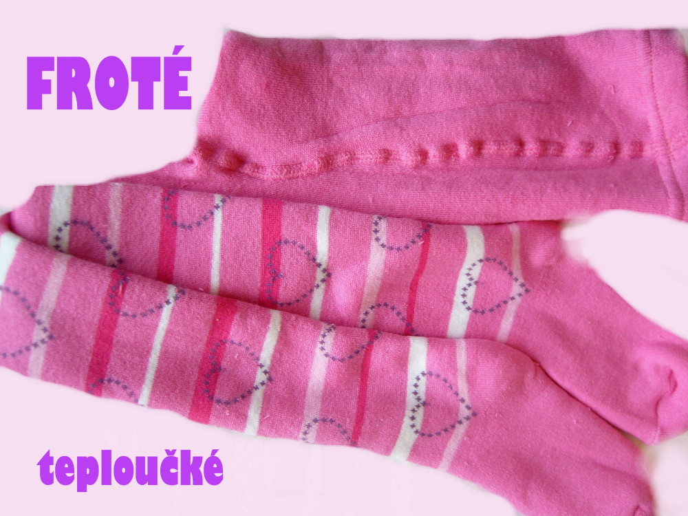 Dětské froté punčocháčky Design Socks - růžové se srdíčky