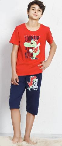 Dětské kapri pyžamo Vienetta Secret Krokodýl červené