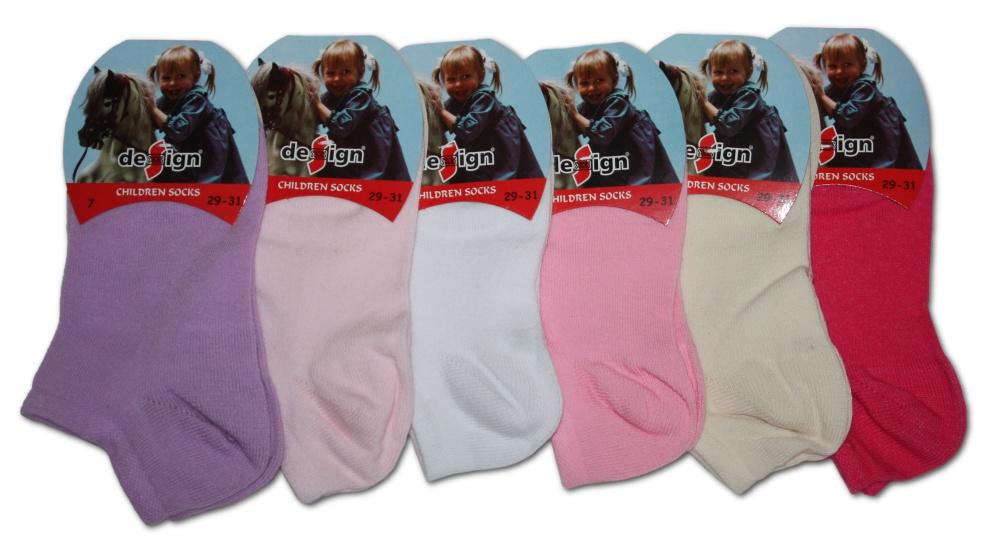 Dětské kotníkové ponožky Design Socks - jednobarevné - 3 páry v balení