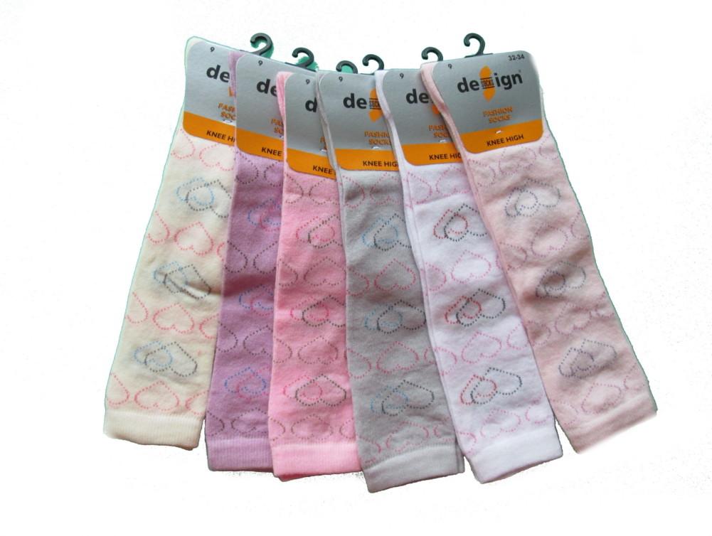 Dětské podkolenky Design Socks Srdíčka