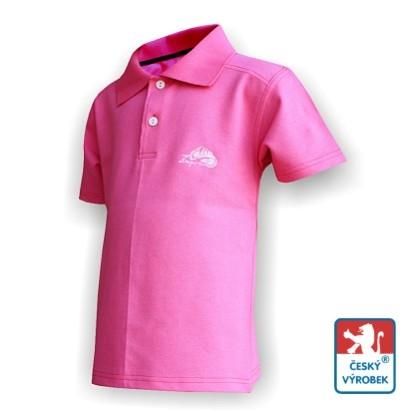 Dětské polo triko Suspect Animal krátký rukáv růžová/bílá Bavlna