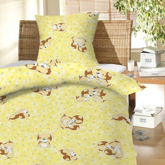 Dětské povlečení bavlna do postýlky - Štěně žluté