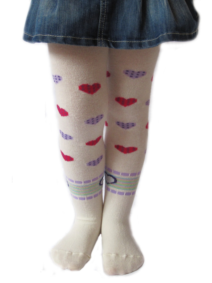 Dětské punčocháčky Design Socks Srdíčka smetanové