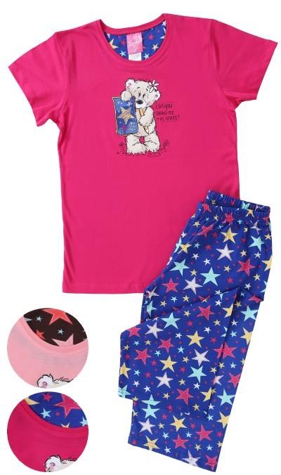 Dětské pyžamo bermudy Vienetta Secret Meďa a hvězdy červené