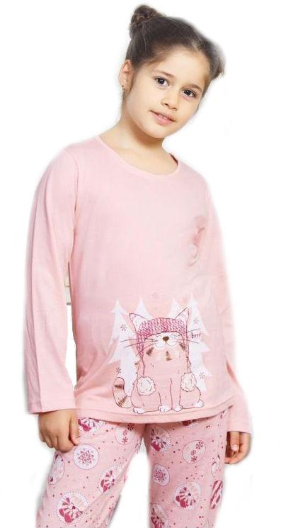 Dětské pyžamo dlouhé Vienetta Secret Kočka s čepicí