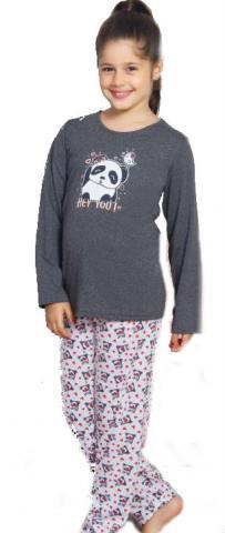 Dětské pyžamo dlouhé Vienetta Secret Panda a ptáček červená