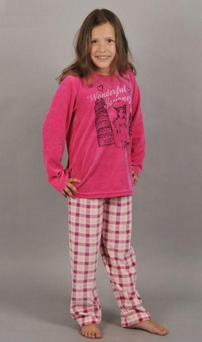 Dětské velurové pyžamo dlouhé Vienetta Secret Dívka na cestách