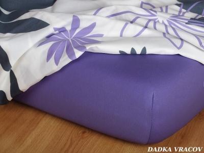 Jersey prostěradlo purpurové 180x200x35 cm